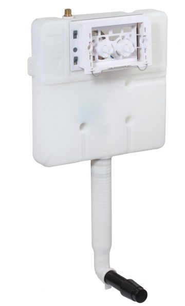 Single Piece Slim Concealed Cistern Body (Pneumatic Operated) with installation kit without front control plate.