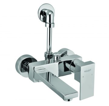 Single Lever Wall Mixer With Provision For Over Head Shower Complete With L-Bend (115mm ) With Wall Flange