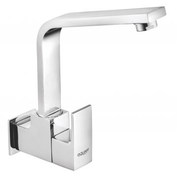Sink cock with swinging spout (extended) wall mounted with Wall Flange