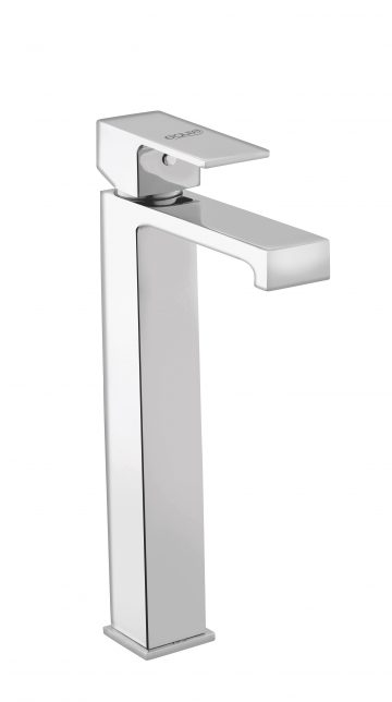 Single Lever Basin Mixer Tall without Pop-Up Waste System With 600mm Braided Hose