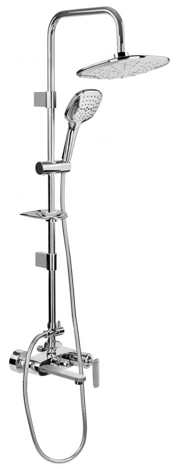 Single Lever Wall Mixer with provision for Overhead Shower and Hand Shower with Exposed Shower Arm including Over head shower (238x238 mm) & hand shower ( 3 functions with 1.5 mtr shower hose).