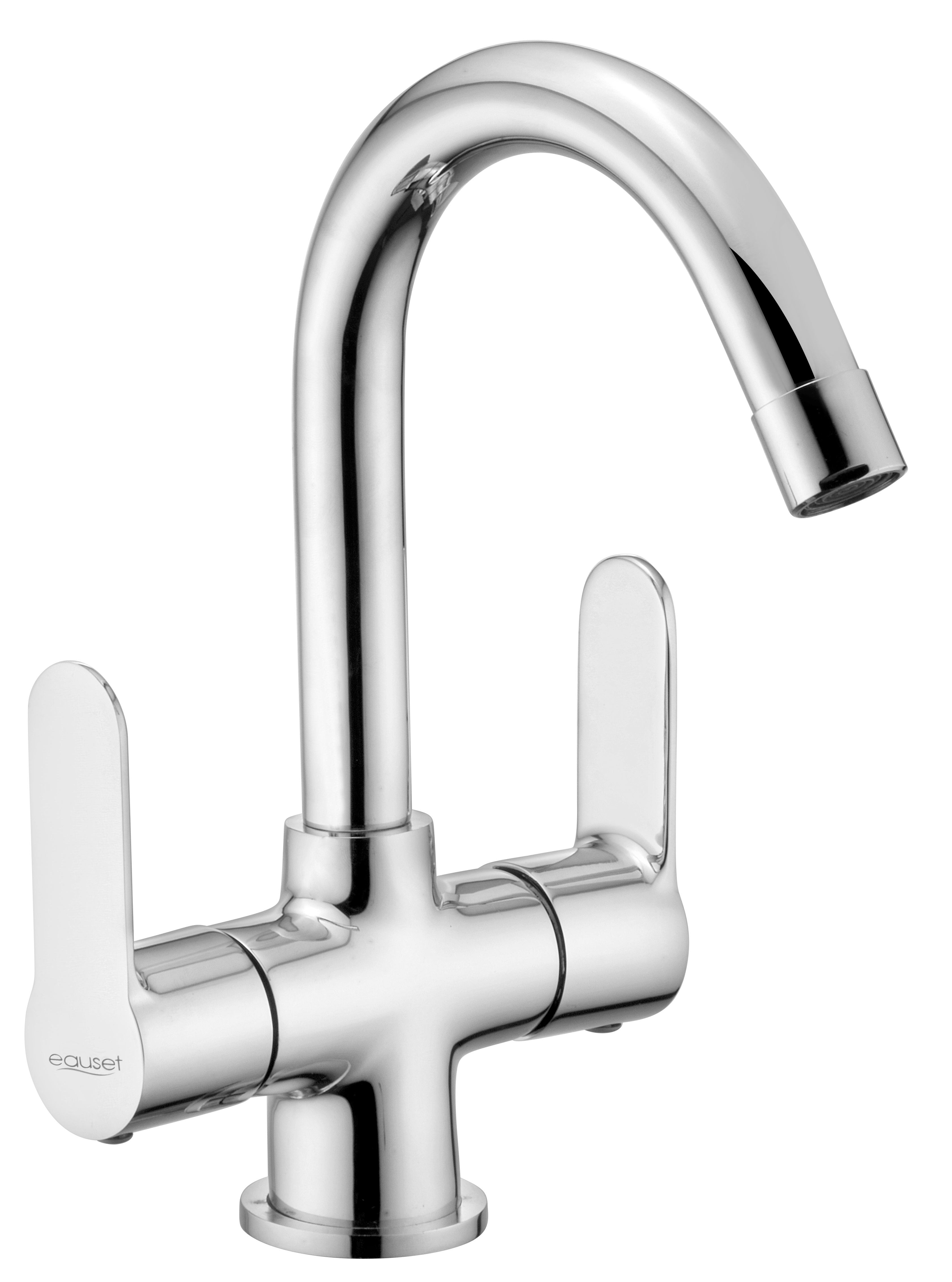 Center Hole Basin Mixer without Pop-Up Waste System With 450mm Braided Hose
