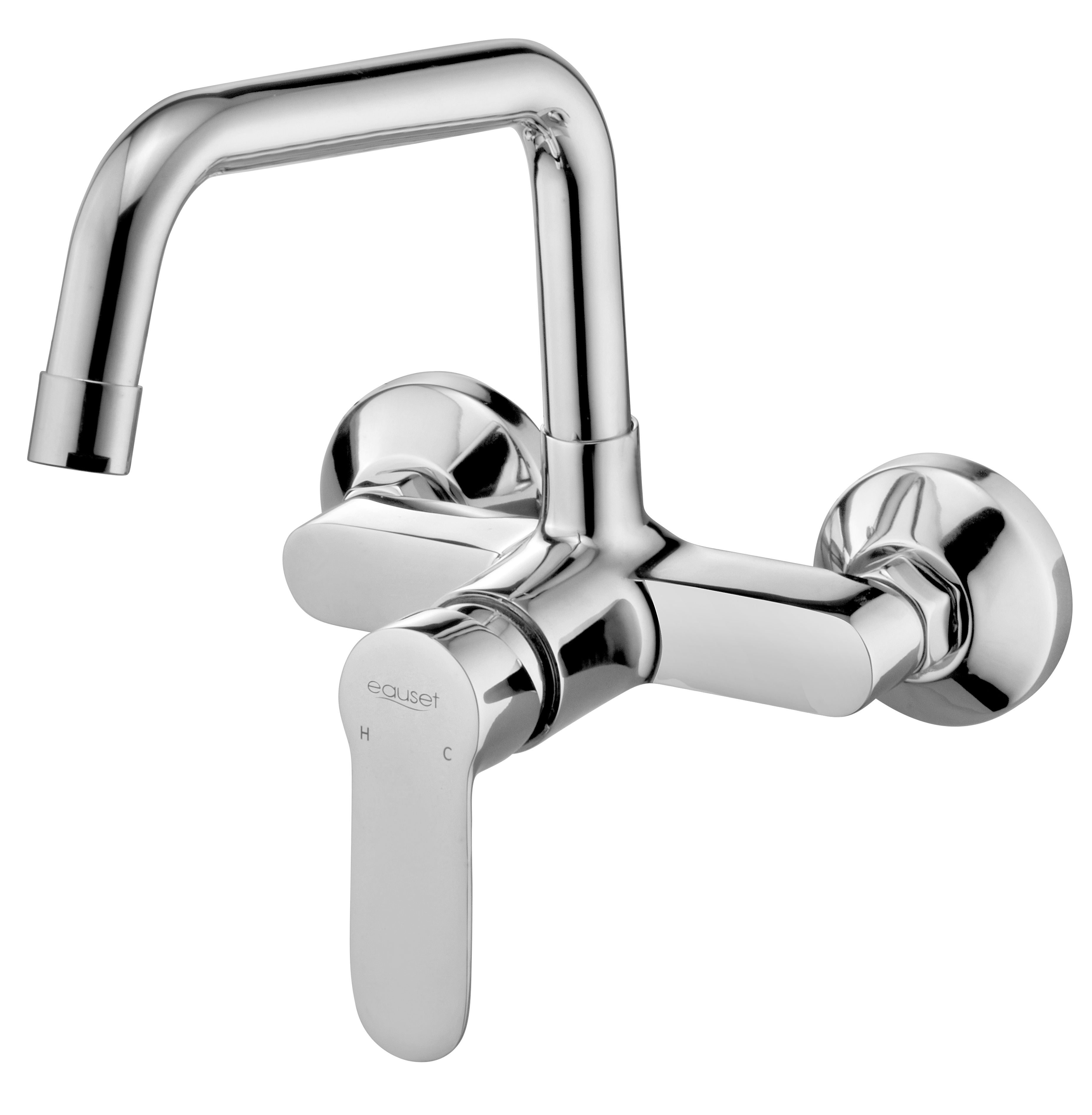 Single Lever Sink Mixer Wall Mounted With Swinging Spout ( Extended ) On Upper Side With Wall Flange.