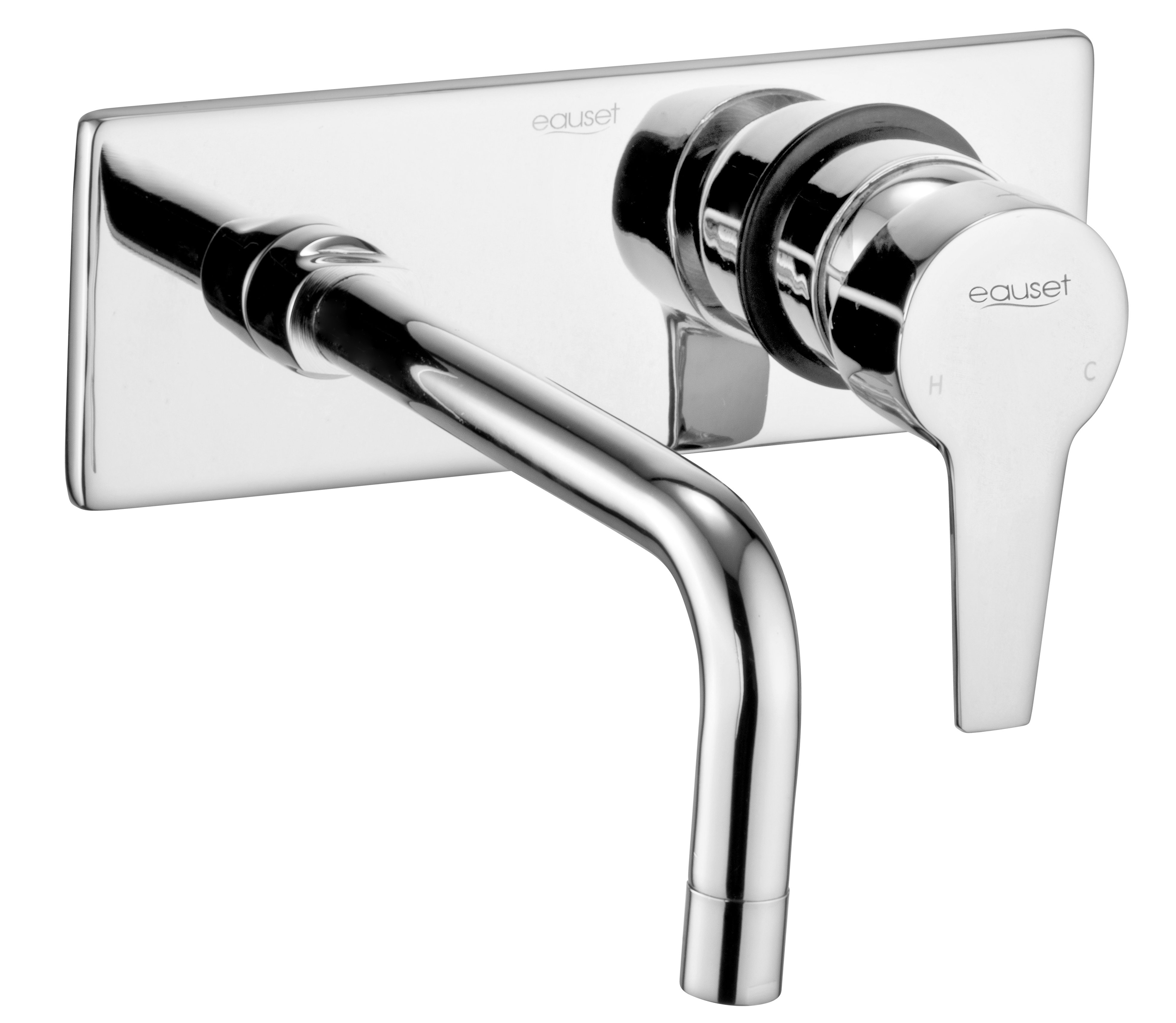 Exposed Part Kit Of Single Lever Concealed Basin Mixer With Single Plate Flange And Pipe Spout.