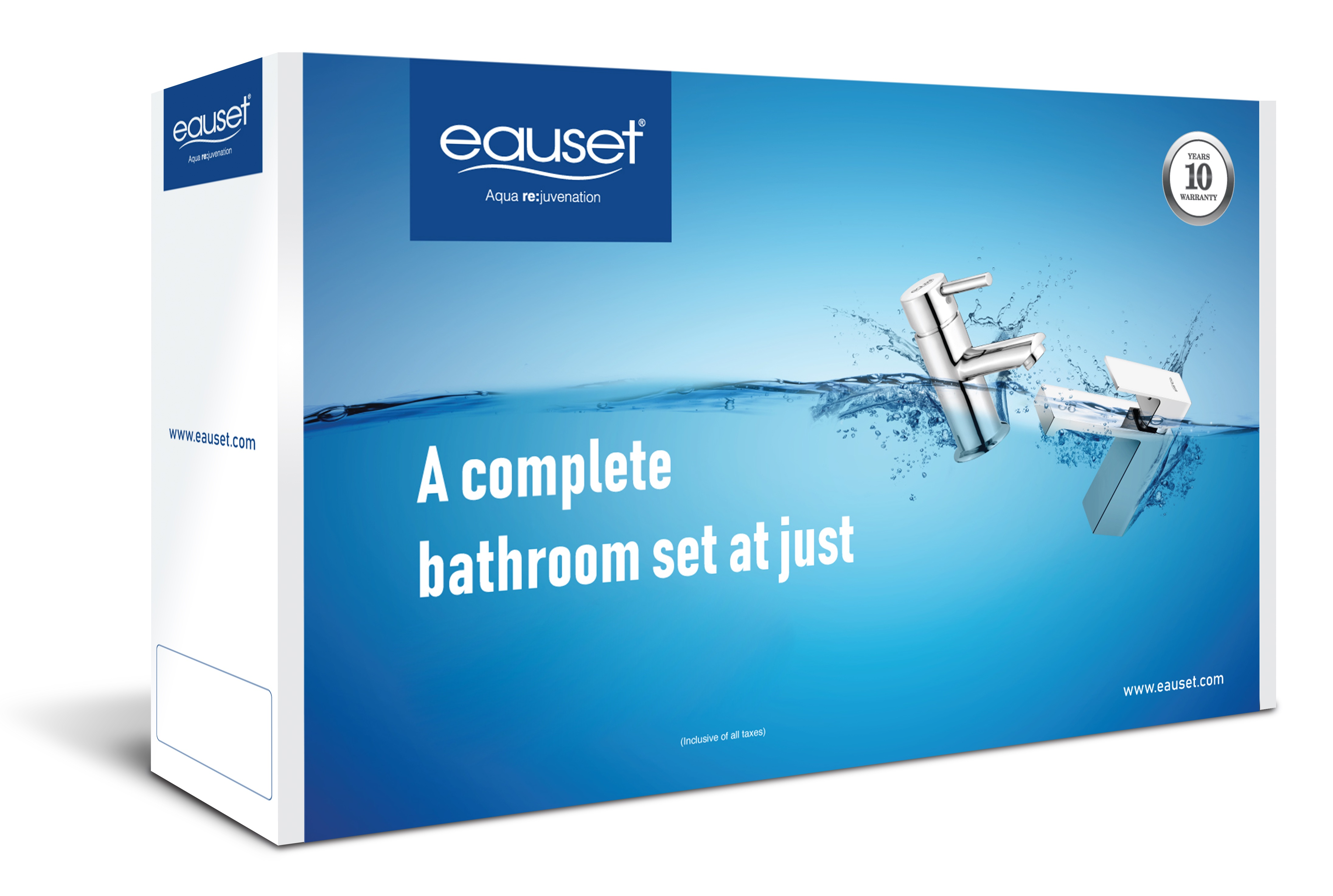 Bath Set -Pillar Cock Long Neck+ Bath Tub Spout + Single Lever Concealed Divertor (High Flow) With Upper Part + Angle Cock- 03 Pcs + Shower With Arm