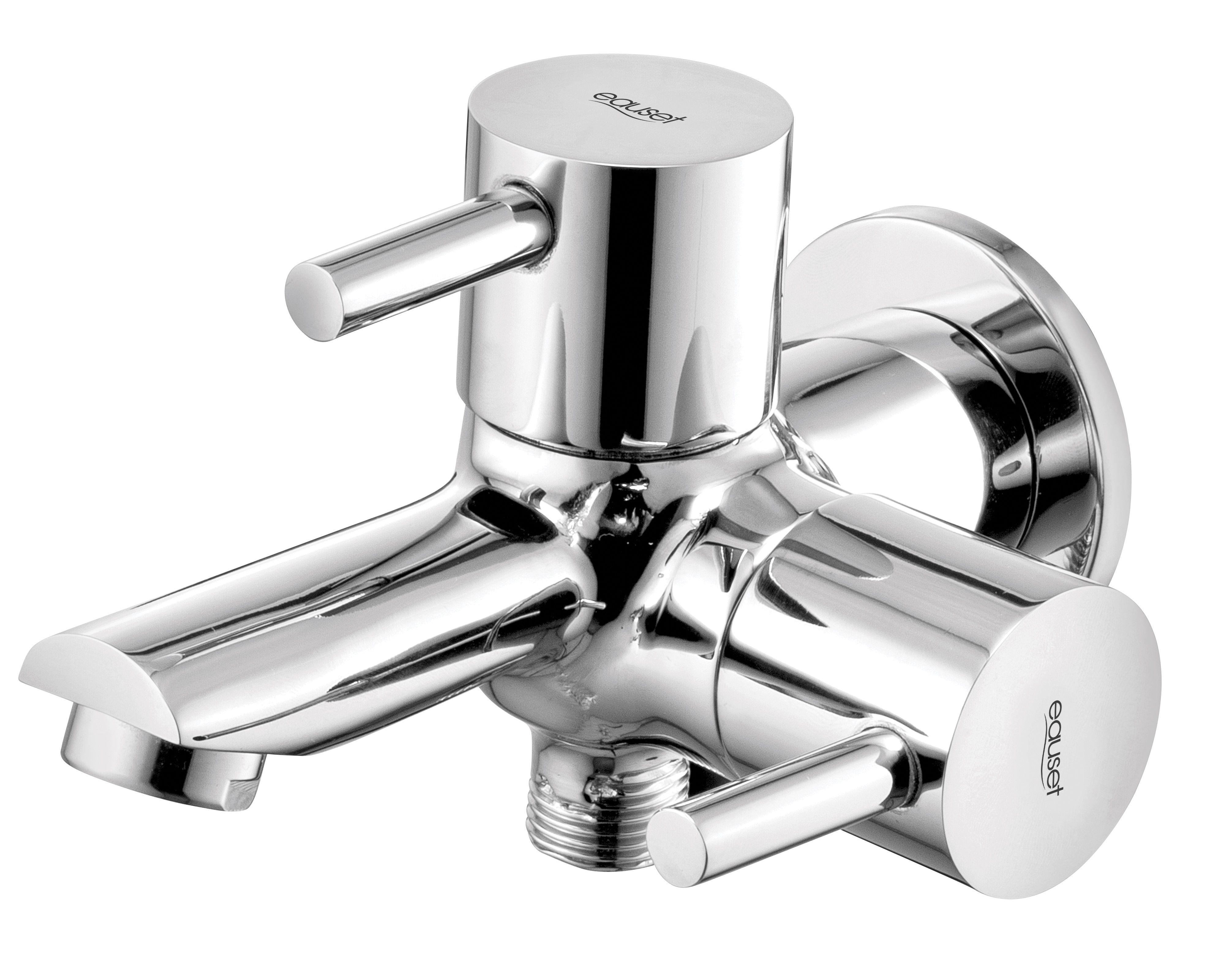 Two Way Bib Cock In Double Control System With Wall Flange