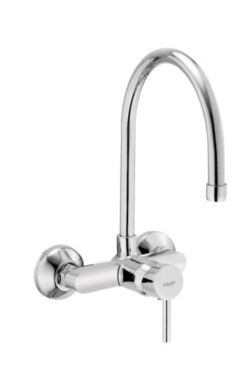 Single Lever Sink Mixer Wall Mounted With Swinging Spout On Upper Side With Wall Flange