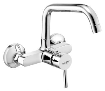 Single Lever Sink Mixer Wall Mounted With Swinging Spout (Extended ) On Upper Side With Wall Flange.