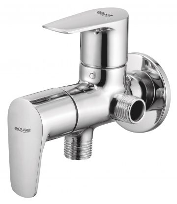 Two Way Angular Stop Cock In Double Control System With Wall Flange