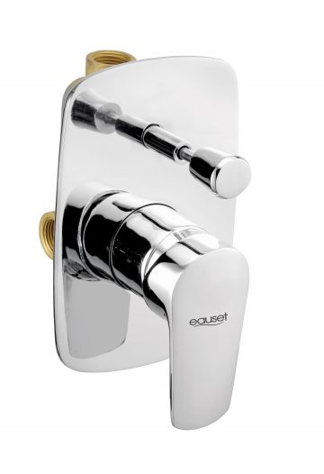 Lever And Flange For Single Lever Concealed Divertor With 3 Inlet (2 Cold + 1 Hot) For Bath & Overhead Shower System