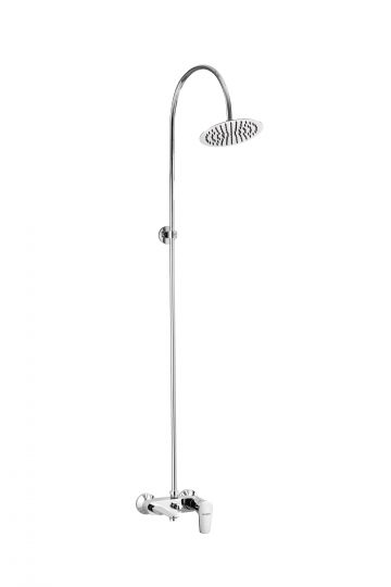 """Single Lever Wall Mixer With Exposed Over Head Shower Arm With Overhead Shower ( Ultraslim 200mm (8"""") Round ) With Flange"""