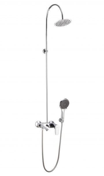 """Single Lever Wall Mixer With Provision For Overhead Shower & Hand Shower With Exposed Shower Arm Including Ultra Slim200mm (8"""") (Round) Shower & Hand Shower (5 Function With 1.5 Mtr Shower Hose )"""