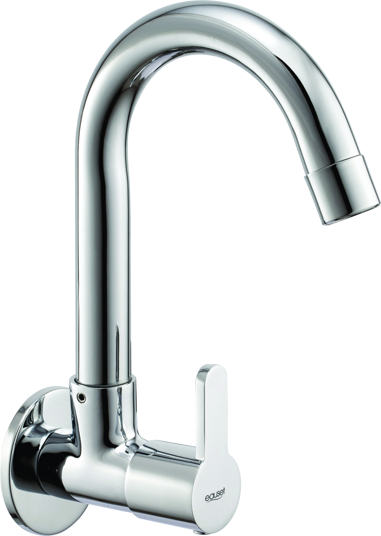 Sink Cock With Swinging Spout Wall Mounted With Wall Flange