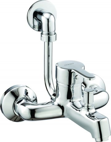 Single Lever Wall mixer with provision for overhead shower complete with L-Bend (115mm) with Wall Flange
